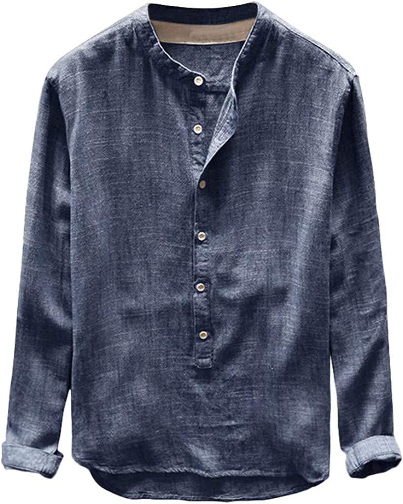 Mens T-Shirt Long Sleeve Solid Cotton Linen Button Down Undershirts Soft Comfy Home Pajama Casual Relaxed-fit Tops