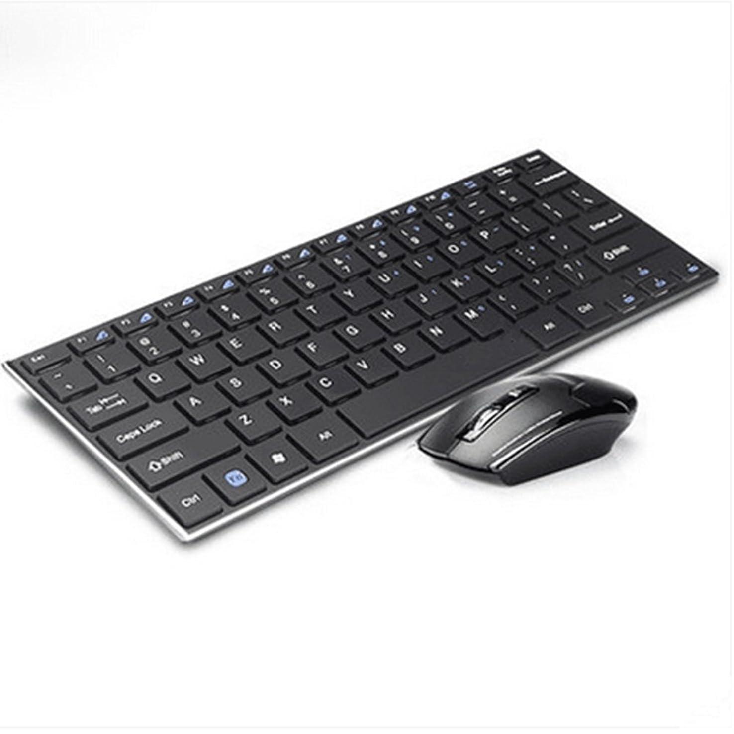 好戦的なチート窓を洗うミニワイヤレスキーボード+マウスセットアルミ合金薄型デスクトップノートブックUSBインターフェイス防水キーボード、バッテリーなし,Black