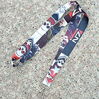 DEOLBA Mass Effect Keychain Lanyard Pickle Neck Strap ID Badge Protector Case Work Certificate Pass Gym Mobile USB Holder Hang Rope