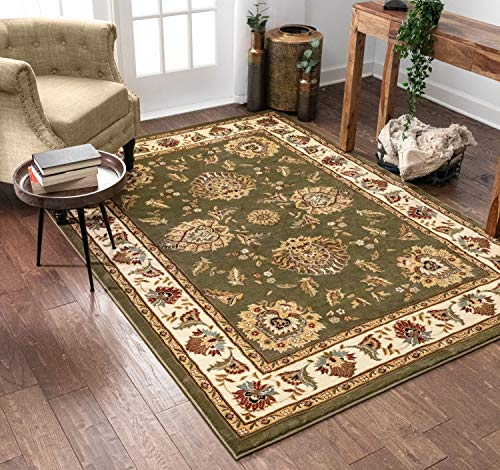 Sultan Sarouk Green Persian Floral Oriental Formal Traditional 4x5 (3'11' x 5'3' Area Rug Easy to Clean Stain / Fade Resistant Shed Free Modern Contemporary Thick Soft Plush Living Dining Room Rug