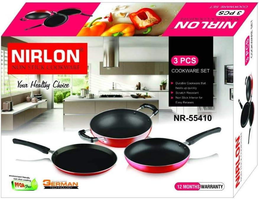 Nirlon 3-Piece Aluminium Non ついに再販開始 Stick Gift Cookware S Induction 定価の67%OFF