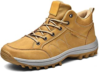 أحذية Wshizhdfu للرجال، أحذية شتوية للرجال المشي لمسافات طويلة جلد مقاوم للماء أحذية أوقات الفراغ للرجال في الهواء الطلق ت...