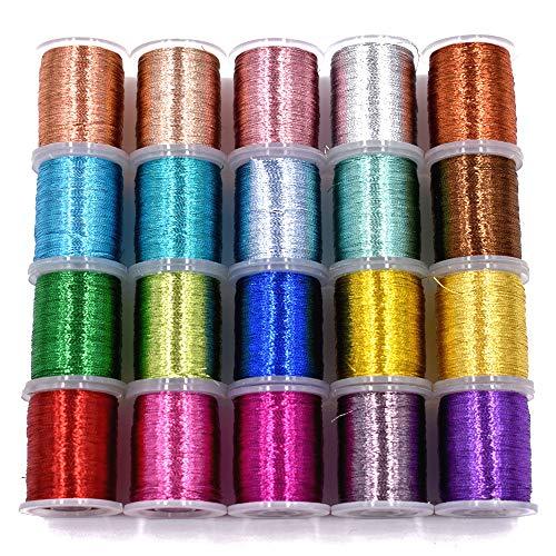 20PCS Metallic Yarn Thread for Steelhead or Body of Nymph Fly Tying Materials Standard Spool
