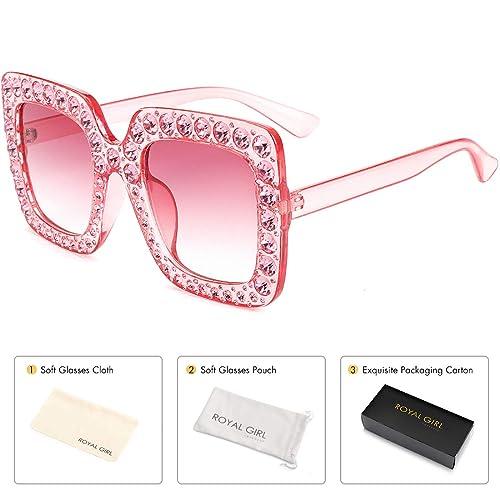 b124bde335 ROYAL GIRL Sunglasses Women Oversized Square Crystal Brand Designer Shades
