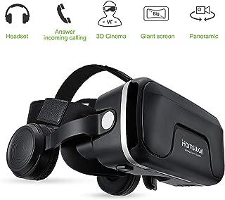 HAMSWAN Gafas de Realidad Virtual con Auriculares [Regalos] 3D VR Googles con Auriculares Incorporados Visión de 360 Grados FOV Botón Multifunción para Los Móviles de Pantalla 4.0-6.0 Pulgadas