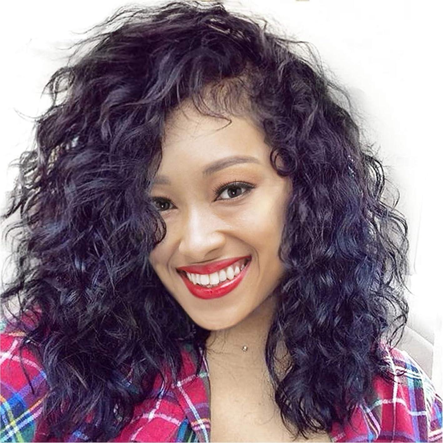 粘液ポータブル日常的に180%密度ブラジルカーリーレースフロント人間の髪の毛のかつらボブ用かつらヘアライン用黒人女性18インチ