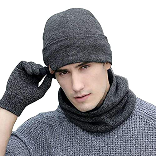 5991e0e5607 Neonr Winter Knitted Hat Scarf Gloves Three Sets for Men and Women