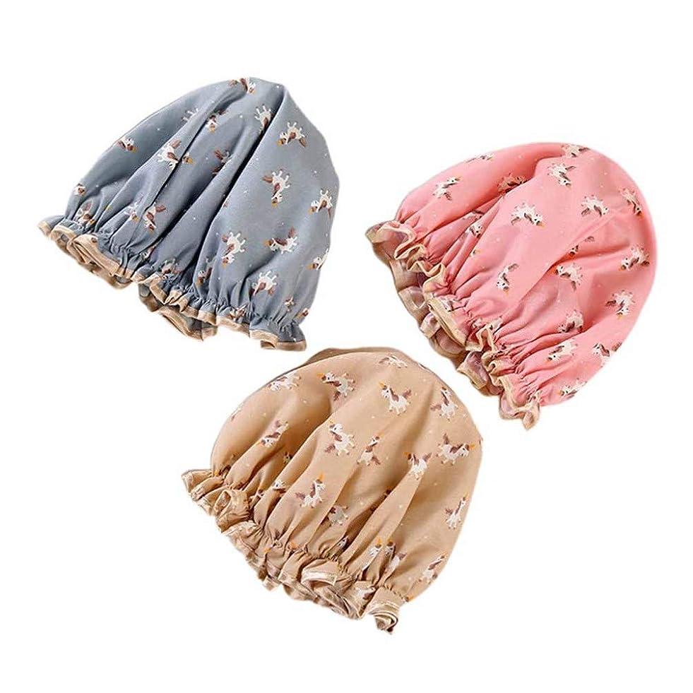 ブラウズ本物現金Lurrose 3ピースユニコーンシャワーキャップ風呂キャップ防水再利用可能な綿入浴帽子レース用女性髪保護(ランダムな色)