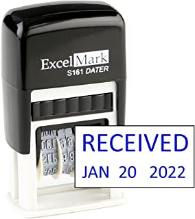 Received - ExcelMark Self-Inking Rubber Date Stamp - Compact Size - Blue Ink