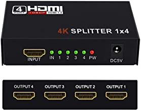 HDMI Splitter 1 in 2 3 4 Out 4K@30HZ, WEILIANTE 4K V1.4 HDCP Powered Hdmi Video Splitter with AC Adaptor 1 Input to 4 Outputs, Supports 3D 4K HD1080P for PS4 XboxRoku Blu-Ray Player Apple TV HDTV
