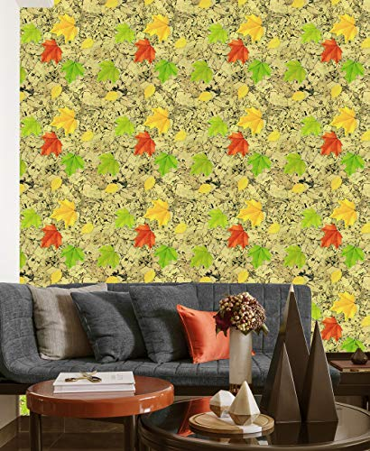 Floral Wallpaper Vinyl Wallpaper Paper for Wall Peel & Stick Wallpaper Colorful Maple Leaf Removable Self-Adhesive Wallpaper Shelf Paper for Wall Decal, 17.7'×236'