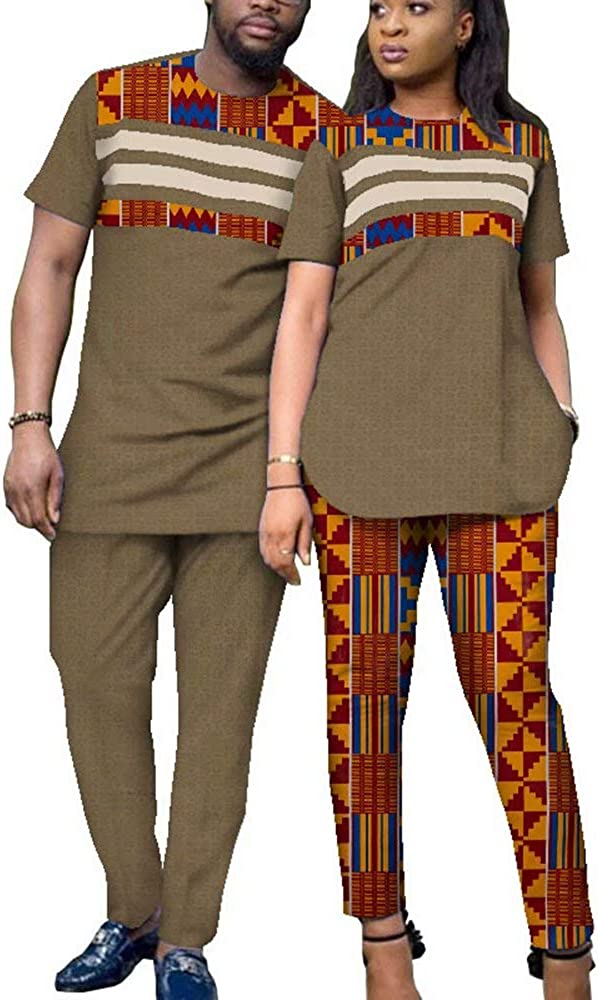 Couples Matching African Dashiki Outfit Shirt Dress Mens Tops Sets Pants Suits