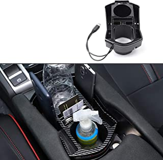 OYADM 10th Gen Civic ABS Carbon Fiber Style Armrest Storage Box for Central Console Glove Holder Organizer Tray Car Cup Ho...