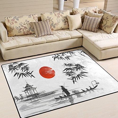 Use7 Traditioneller japanischer Teppich, Motiv: Berg, Bambus, Sonne, Landschaft, Natur, Textil, mehrfarbig, 160cm x 122cm(5.3 x 4 feet)