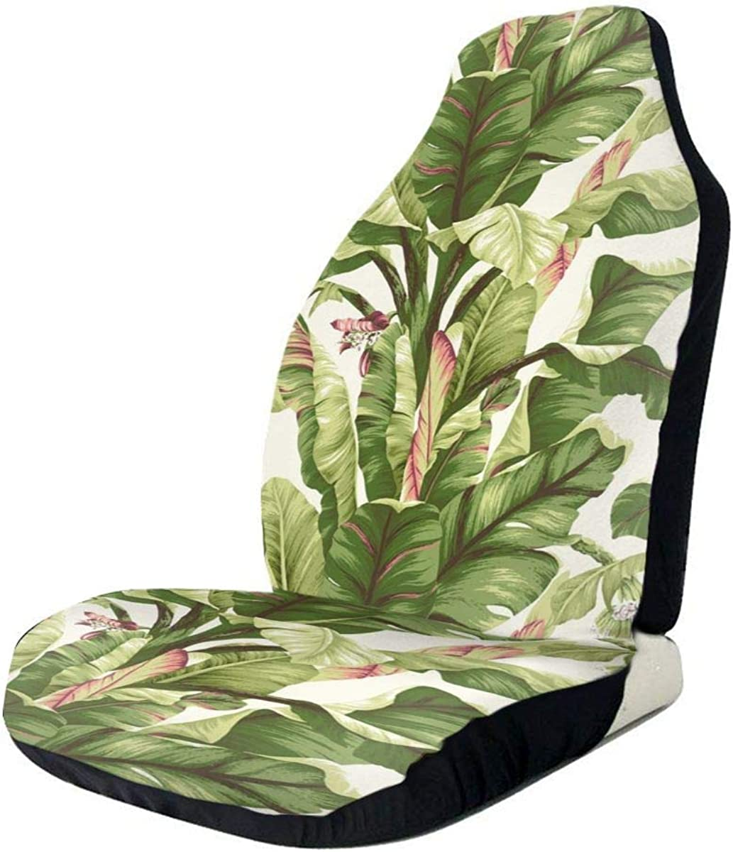 Car Seat Covers Pink Green Palm Leaf is Surrounded Front Seat ...