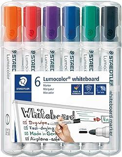 Staedtler 351 WP6 - Rotuladores para pizarra blanca Lumocolor, inodoro, secado rápido y recargable, paquete de 6 colores S...