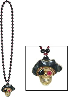 Beads w/Flashing Pirate Skull Medallion Party Accessory (1 count) (1/Card)