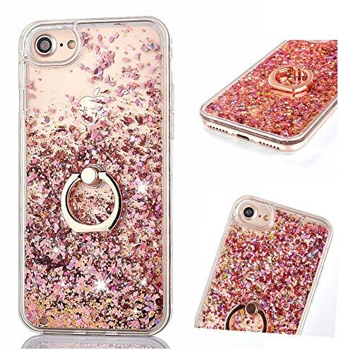 Flüssig Hülle für iPhone SE / 5S / iPhone 5, ZCRO Handyhülle Hülle Schutz Hülle Glitzer Flüssig Cover Transparent Silikon Rahmen Hüllen mit Handy Ring Halterung Ständer für iPhone SE 5S 5 (Rose Gold)