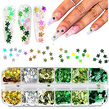 Shamrock Nail Art Sticker Decals Nail Glitter St Patrick s Day Clover Shiny 3D Nail Art Supplies Flakes Holographic 12 Grids Colorful Green Glitter Sticker Decals Manicure Acrylic Nail Art Design