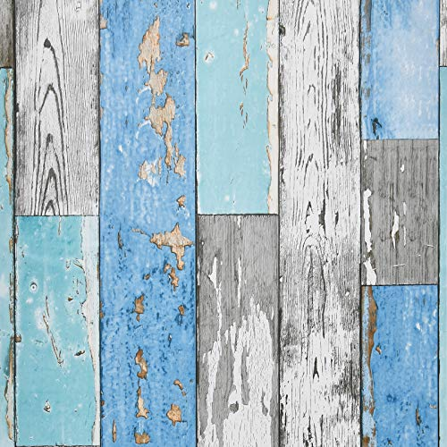 Caltero Wood Plank Wallpaper 17.7' × 118' Blue Distressed Wood Wallpaper Peel and Stick Wood Grain Wallpaper Vintage for Furniture Bedroom Countertop Cabinet