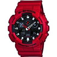 Casio Men's XL Series G-Shock Quartz 200M WR Shock Resistant Resin Color: Red (Model GA-100B-4ACR)