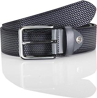 LINDENMANN men's leather belt/men's belt, full grain leather, grey