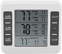 Sans fil Therometer, thermomètre numérique d'alarme, alarme sonore numérique sans fil Réfrigérateur Thermomètre avec 2PCS ...