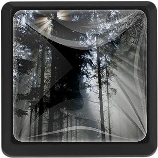Tirador de cajón con forma cuadrada de cristal de Forest Back Light Trees Sunbeam con tornillos para armarios de oficina y...