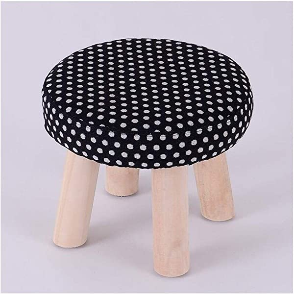 Carl Artbay Wooden Footstool Black Dots Home Solid Wood Stool Fashion Change Shoes Stool Home