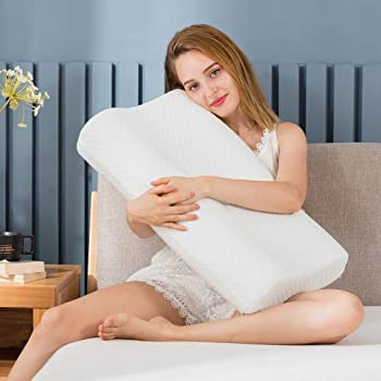 """Zofey Memory Foam Cervical Medical Pillow for Sleeping Orthopedic Pillows for Neck Back Pain (20""""X12""""X3"""") White Color (white01"""