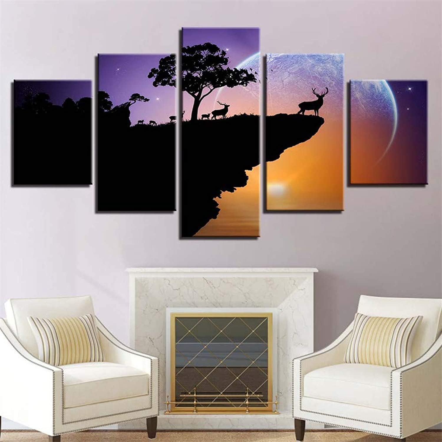 Loiazh  Image Printed On Non Woven Canvas  Wall Art Print Picture  Photo  5 Pieces  Frameless  Evening Elk 55x22 45x20x2 35x20x2(cm)