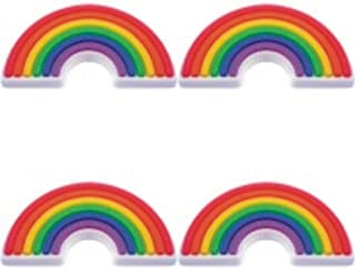 Four (4) of Rainbow Rubber Charms for Wristbands and Shoes