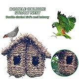 madera Casa de nido Casa de pájaros, Jardín al aire libre Doble techo inclinado Hierba de paja Tejido Caries Resistente Percha Colgando Casa nido para zumbidos Zurrón Gorrión Tragar Pequeñas aves