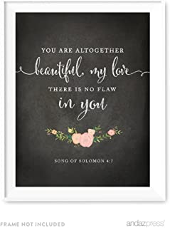 Andaz Press Biblical Wedding Love Quote Wall Art, Chalkboard Floral Roses Print Poster, 8.5x11-inch, You are altogether beautiful, my love there is no flaw in you, Song of Solomon, Bible, 1-Pack