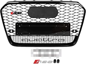 Duokon RS6 Quattro Style Hex Mesh Honeycomb Grill,Front Sport Hex Mesh Honeycomb Hood Grill Black for Audi A6/S6 C7 12-14