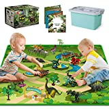 Dinosaur Toys - 10 Realistic Dinosaur Figures, Activity Kids Play Mat & Trees for Creating a Dino World Including T-rex, Triceratops, etc, Dinosaur Playset Gifts for Boy & Girl 3,4,5,6,7,8 Years Old