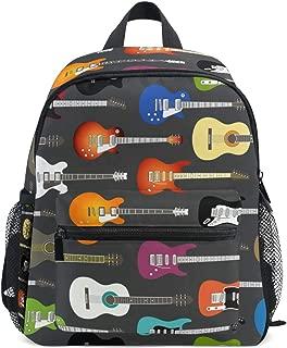 Mini Kids Backpack Daypack Art Colorful Guitar Musical Instrument Pattern Pre-School Kindergarten Toddler Bag for Travel Girls Boys
