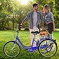 ApePal Adult Tricycle, 24 inch Wheels, 3 Wheel Cruiser Bike, Large Basket for Recreation, Shopping, Picnics Exercise Men's Women's Cruiser Bike (Purple)