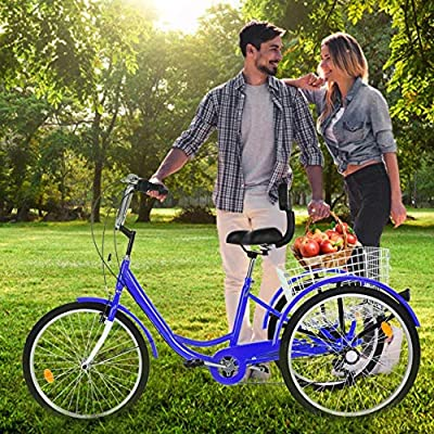 ApePal Adult Tricycle, 24 inch Wheels, 3 Wheel Cruiser Bike, Large Basket for Recreation, Shopping, Picnics Exercise Men's Women's Cruiser Bike (Purple)