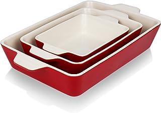 Gohearin Ceramic Bakeware Set, Lasagna Pans for Cooking,Rectangular Baking DishLasagna Pans Kitchen, Cake Dinner, Banquet ...