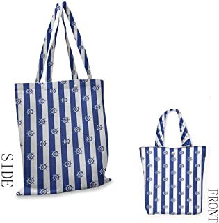 Ships WheelWashable shopping bagSailor Stripes Breton with Silhouettes of Ships Wheels Classic ArtworkHandmade shopping bags W15.75 x L17.71 Inch Royal Blue White