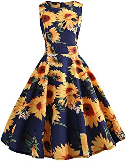 Vintage Dresses for Women, Retro Sunflower Print Sleeveless Tea Evening Party Short Dress