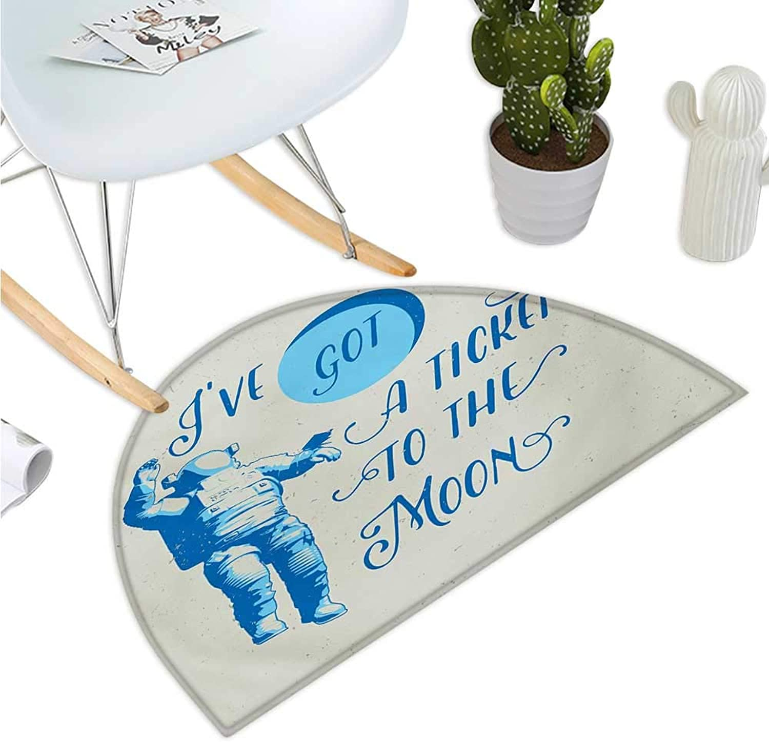 Astronaut Semicircular Cushion Ive Got a Ticket to The Moon Astronaut Galaxy Celestial Journey into Space Entry Door Mat H 39.3  xD 59  Pale bluee White