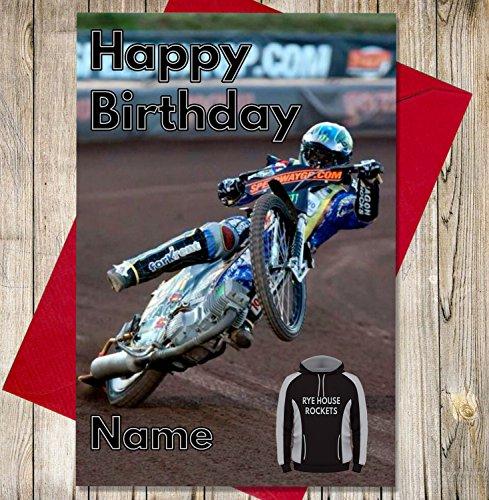 Rye House-Rockets - Gepersonaliseerde Speedway Verjaardagskaart - Naam en leeftijd gedrukt op de voorzijde