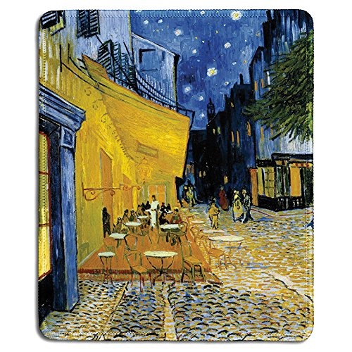 dealzEpic - Art Mousepad - Natural Rubber Mouse Pad with Famous Fine Art Painting of The Cafe Terrace at Night by Vincent Van Gogh - Stitched Edges - 9.5x7.9 inches