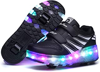 EVLYN Boy's and Girl's Glittering Night LED Light up Roller Skate Shoes with Wheels
