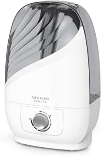 ASAKUKI Ultrasonic Cool Mist Humidifier, 6L Premium Quiet Air Humidifier for Home, Bedrooms, Office or Babies Nursery, Visible Water Tank, Quiet Operation, Lasts Up to 20-72 Hours (Pearl White)