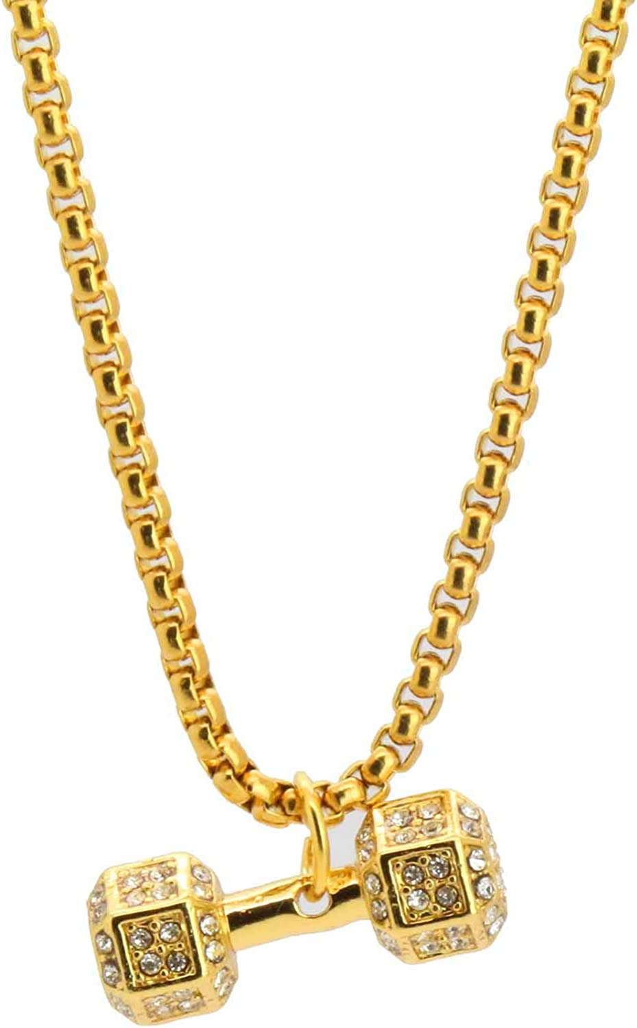 Cz Dumbbell Pendant Gold Stainless Steel Necklace Round Box Link Chain