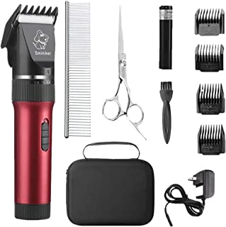Sminiker Low Noise Cat and Dog Clippers Rechargeable Cordless Pet Clippers Grooming Kit with Storage Bag 5 Speed Professio...