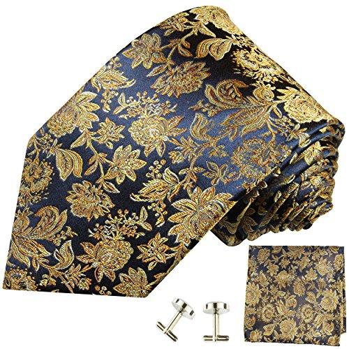 Cravate bleu or fleurs ensemble de cravate 3 Pièces (100% Soie Cravate + Mouchoir + Boutons de manchette)